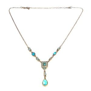 "Vintage Costume Turquoise Rhinestone ""Y"" Necklace"